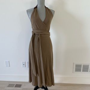 Theory halter wrap dress with suede detail.